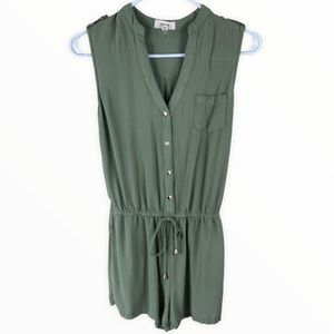 C'est Toi Olive Green Romper With Gold Buttons Sm